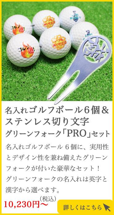 名入れゴルフボール6個&ステンレス切り文字グリーンフォーク「PRO」セット