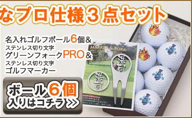 名入れゴルフボール6個&ステンレス切り文字グリーンフォーク「PRO」+マーカーセット